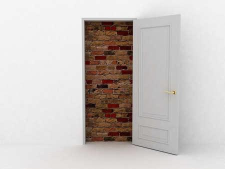 no entrance: No hay escape y entrada. Puertas puso ladrillos. Im�genes en 3D Foto de archivo