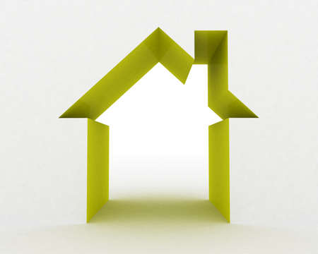 Abstract house on white background, 3D image photo