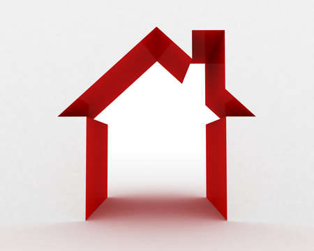 small house: Abstract house on white background, 3D image Stock Photo