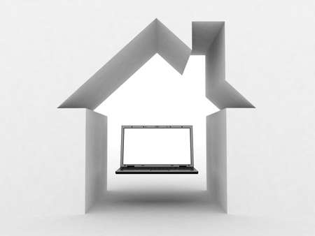 3D black laptop pc under the roof of the house concept Stock Photo - 12862572