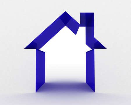 construction companies: Abstract house on white background, 3D image Stock Photo