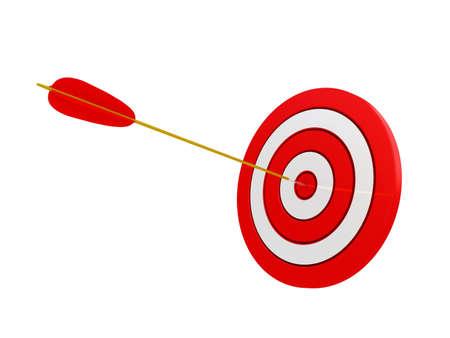 3d illustratie van het boogschieten doel te raken met een pijl, op witte achtergrond