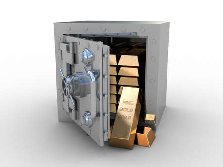 Safety deposit box and gold bras on white background, 3D images photo
