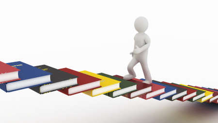 adult learning: Man walking on the stairs of books, 3D images