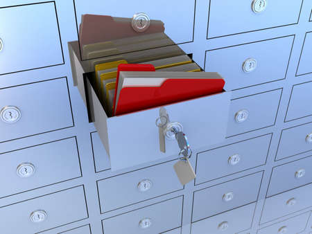 archiving: 3d illustration of information search metaphor Stock Photo