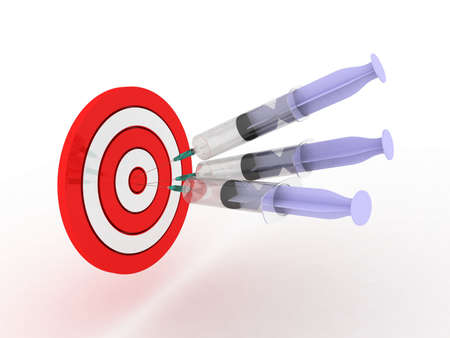 Syringes and target isolated on white background Stock Photo - 12862557