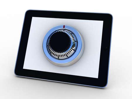 Safe tablet on white background, 3D images