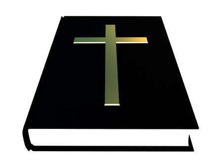 The bible and the golden cross on a white background photo