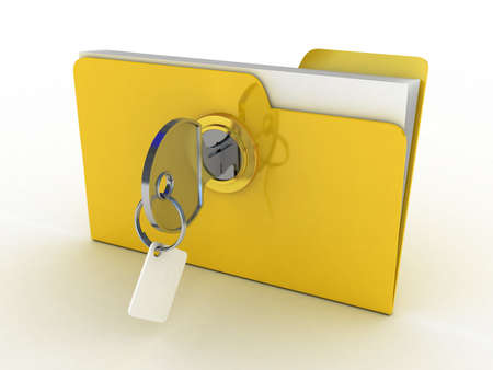 3d illustration of yellow folder locked with key,isolated over white illustration