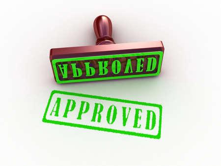 tampon approuv�: Approuv� timbre sur fond blanc, les images 3D Banque d'images