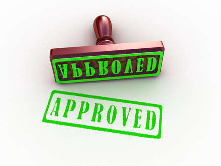 Approved stamp on white background, 3D images Stock Photo - 12996445