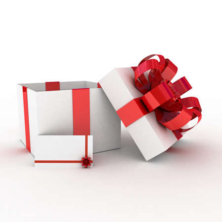 Gift  open white box, 3D images photo