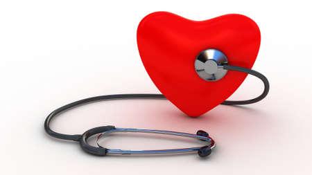 Medische stethoscoop en hart op een witte Stockfoto