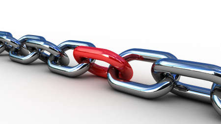 chain link: Chain with a red link, 3D images