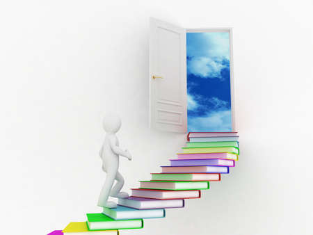 step up: Man walking on the stairs of books, 3D images