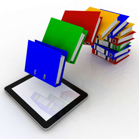 Folders fly into your tablet, 3D images