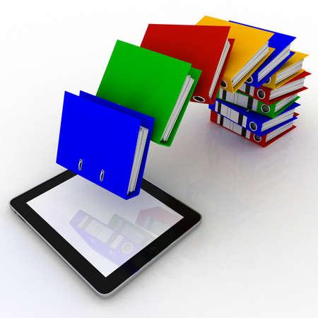 Mappen vliegen in het tablet, de 3D-beelden