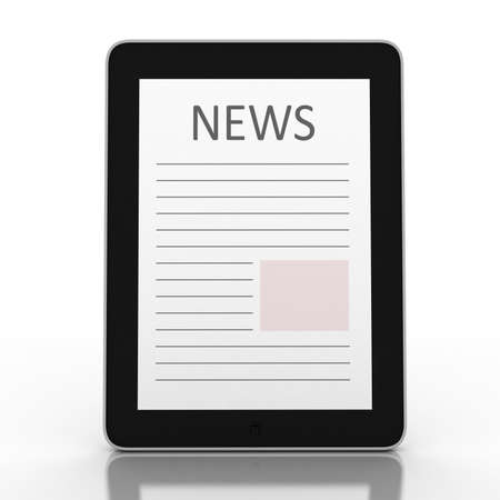 Business newspaper on tablet. Mobile device concepts 3D. isolated on white photo