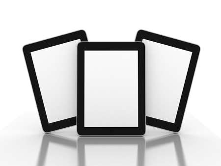 tablet pc in hand: 3D black tablet pc on white background, 3D images