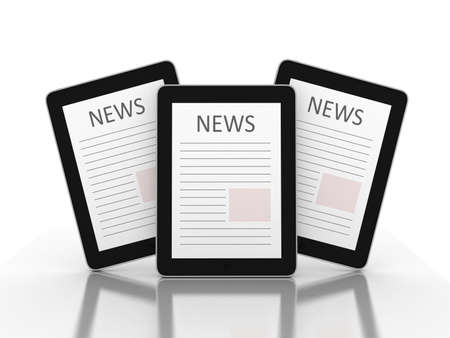 inovation: Business newspaper on tablet. Mobile device concepts 3D. isolated on white Stock Photo