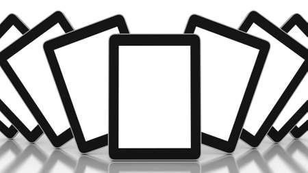 3D black tablet pc on white background, 3D images Stock Photo - 13255742