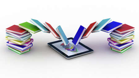 Books fly into your tablet, 3D images Stock Photo - 13255760