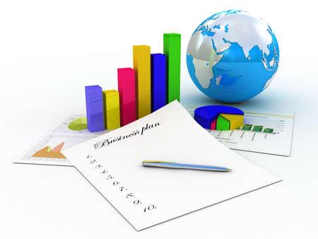 Diagram en business plan, 3D-beelden