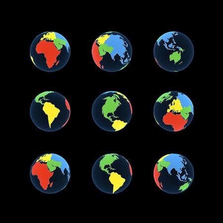 Globe on a black background, 3D images