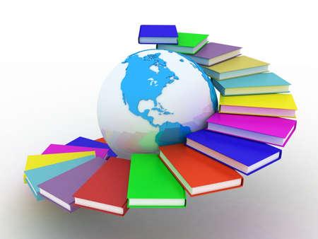 Globe van boeken. Geà ¯ soleerd op wit. 3D-beelden. Stockfoto