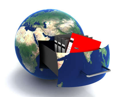 Transfer of documents. Forwarding files conceptual 3d illustration.Maps from NASA imagery illustration
