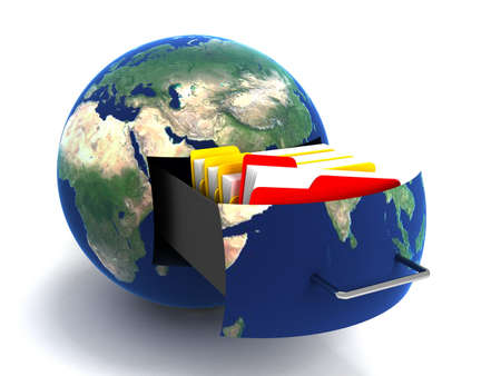 backups: Transfer of documents. Forwarding files conceptual 3d illustration.Maps from NASA imagery Stock Photo