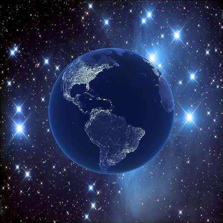 Nacht aarde op de achtergrond van de sterrenhemel, 3D-beelden Stockfoto