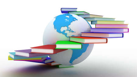 education background: Globe of books. Isolated on white. 3D images.