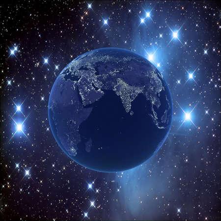 Nacht aarde op de achtergrond van de sterrenhemel, 3D-beelden. Kaarten van NASA beelden Stockfoto