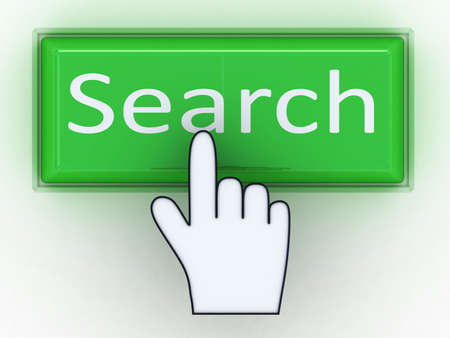 search engine: Green button SEARCH with hand cursor. Computer generated image. Stock Photo