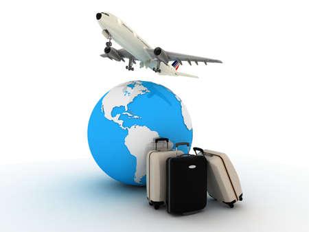 Passenger airplane travels around the world , 3D images Standard-Bild