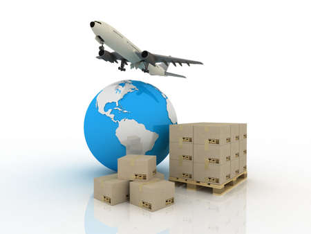 Airliner with a globe and boxes, 3D images photo