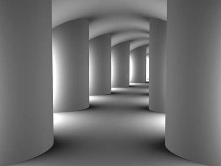Tunnel with columns, 3D images photo