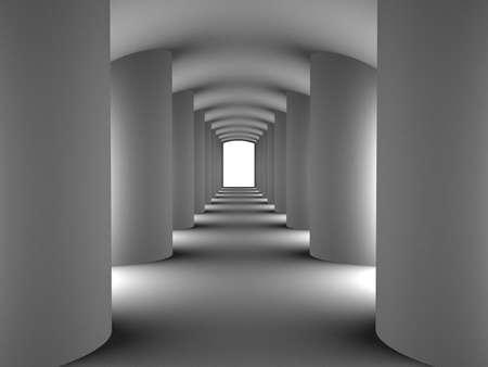 Tunnel met kolommen, 3D-beelden Stockfoto