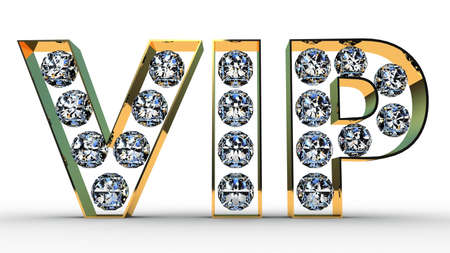 VIP letters with diamonds on white background