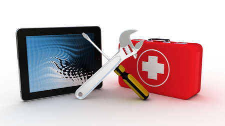 Tablet with tools and a first aid kit on a white background, 3D images photo