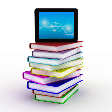 Books and  tablet, 3D images