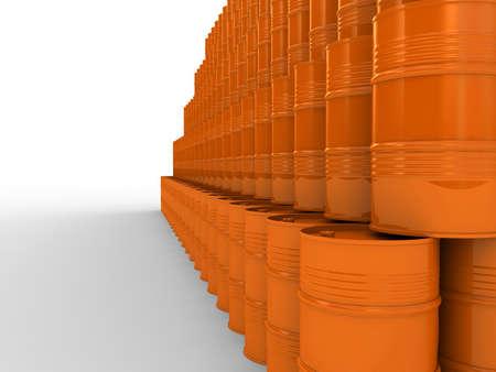 toxic barrels: Set of orange metal industrial barrels, 3D images Stock Photo