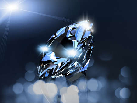 crystal: A beautiful diamond on a dark reflective surface Stock Photo