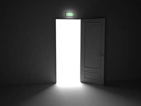 Door  open on black background, 3D images Stock Photo - 14252729