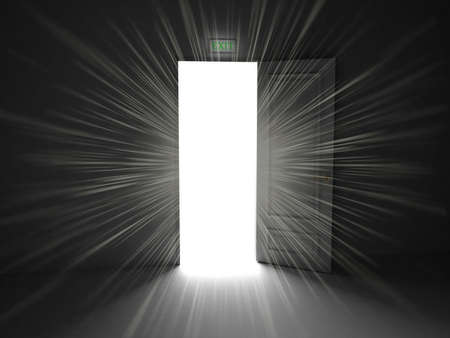Deur open op een zwarte achtergrond, 3D-beelden Stockfoto