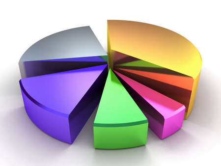 percentage sign: 3D pie chart Stock Photo