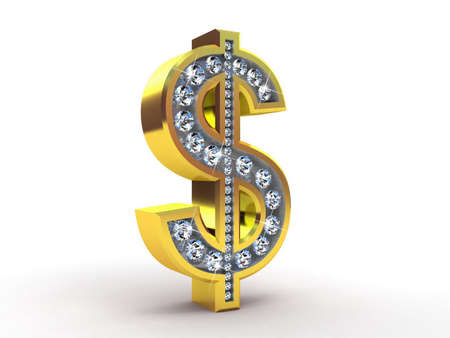 Golden dollar encrusted with diamonds, 3D images