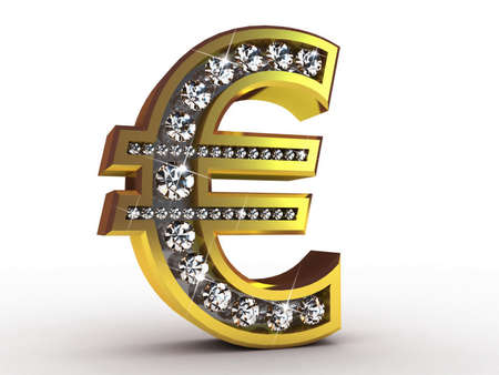 Golden euro encrusted with diamonds, 3D images photo