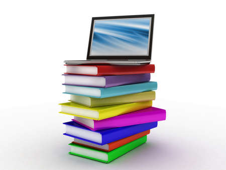 Books and  laptop, 3D images photo